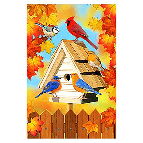 Morigins Cardinals Autumn Yard Flag Decorative Fall Leaves Birds Outdoor Garden Flag Double Sided 12.5 x 18 - Cardinals Pumpkin