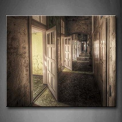 open door painting. First Wall Art - Hallway With Open Doors In An Abandoned Asylum Hdr  Processing Vintage Open Door Painting G