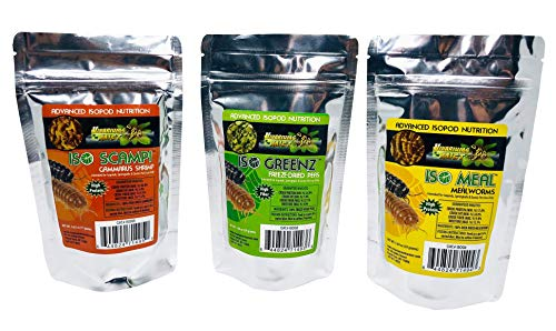 Iso Greenz + Iso Meal + Iso Scampi Set - Advanced Isopod Nutrition - Gammarus shrimp, Mealworms, Peas - Bioactive Invertebrate Clean Up Crew, CUC Food, Treat, Hermit Crab, Exotic - Gammarus Shrimp