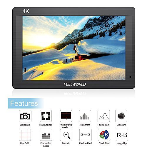 FEELWORLD FH7 Full HD 7 Inch IPS On Camera Field Monitor With Carrying Case Kit Support 4K HDMI Input/Output 1200:1 Contrast 160 Degree Viewing Angels for Sony Canon Nikon Panasonic Cameras