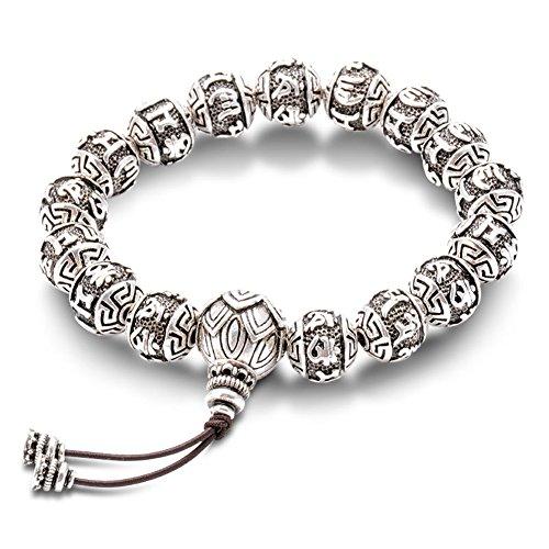 Retro Tibetan Buddhism Brass Thai Silver Plated Fine Charm rope Bracelet For Men Six Words Mantras Mala Yoga Lotus Beads Bracelet (11mm)