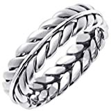 18K White Gold Braided Fern Style Men's Concave Comfort Fit Wedding Band (6mm) Size-12.5c1