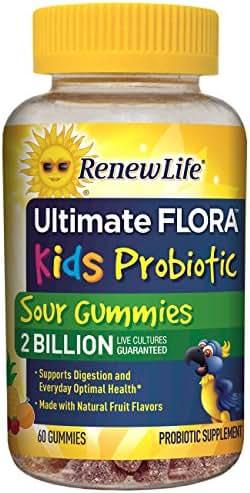 Renew Life Kids Probiotic - Ultimate Flora Kids Probiotic, Shelf Stable Probiotic Supplement - 2 Billion - Fruit Flavor, 60 Chewable Sour Gummies