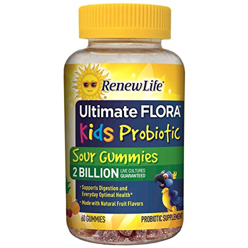 Renew Life Kids Probiotic - Ultimate Flora Kids Probiotic, Shelf Stable Probiotic Supplement - 2 Billion - Fruit Flavor, 60 Chewable Sour ()