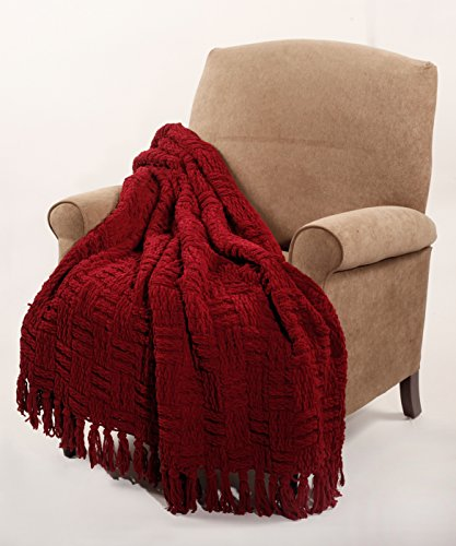 Burgundy Throw (BOON Cable Knitted Throw Couch Cover Blanket, 50