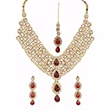 Efulgenz Indian Bollywood Traditional White Red Green Rhinestone Faux Ruby Emerald Heavy Bridal Designer Jewelry Necklace Set in Antique 18K Gold Tone for Women and Girls
