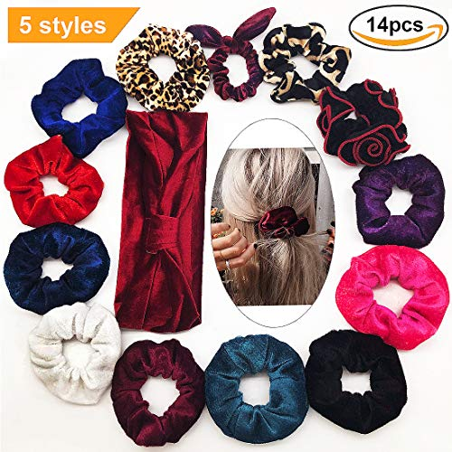❤Onder Velvet Scrunchies Elastics Colorful Hair Ties 14 Pack with Red Hair Band,Christmas Gift Ponytail/Bun, Premium 5 Styles Soft Bow Chiffon Scrunchy Bobble for Girl/Women Rope Hair Access