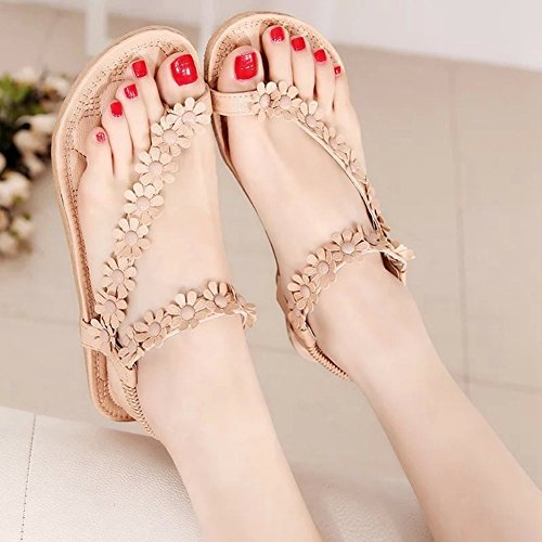 T Plus Beaded Ladies Summer Fashion Beach Womens Size Apricot1 Flat Rhinestone Slippers Bohemian Gemstones Strap Sandals dt8qxHOvxn