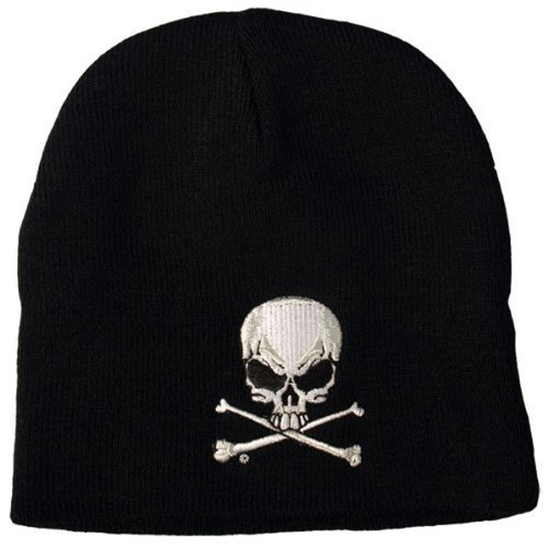 (Hot Leathers Skull and Crossbones Knit Cap (Black) by Hot Leathers)