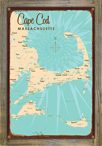 Cape Cod Massachusetts Vintage-Style Map Rustic Metal Print on Reclaimed Barn Wood by Lakebound (12