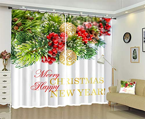 W300 Thermal (2 Panels Thermal Insulated Window Treatment, 3D Santa Claus Christmas Home Decor Curtains for Kitchen Living Room Bedroom,D,W300H270cm)