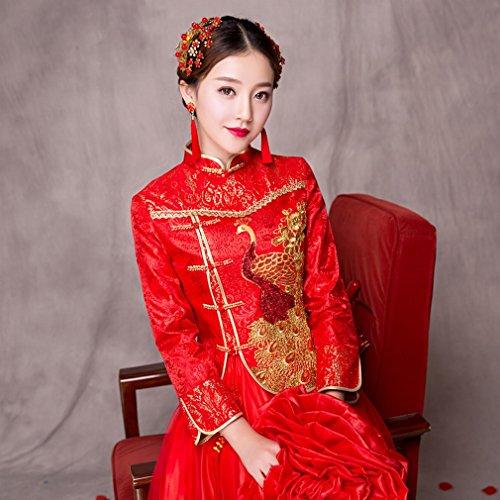 Vestito Servizio Di Wedding Abito da DIDIDD Longfeng Cerimonia Sposa Nuziale Wo Di Cinese Sposa Ricamato Primavera Spettacolo UN Tostato XXXL Nozze Wo qq7vz