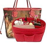 LEXSION Felt Handbag Organizer,Insert purse organizer Fits Speedy Neverfull Red M