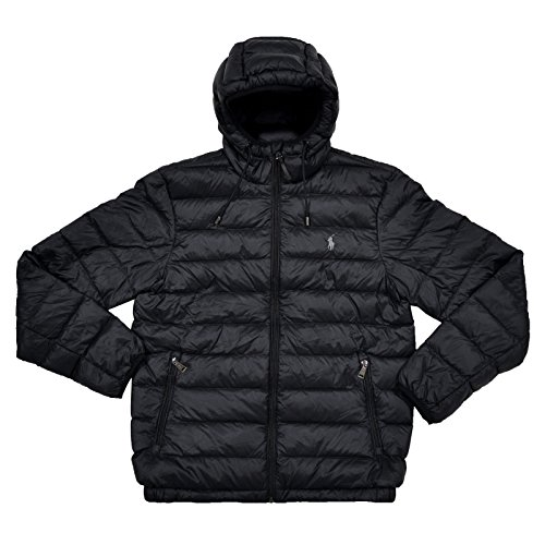 - Polo Ralph Lauren Men's Hooded Down Jakcet, Packable (XXL, Black)