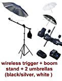 Photo Studio Portable Hot Shoe Flash Mount Umbrella Boom Stand Lighting Kit with Wireless Remote Trigger for Canon, Nikon, Panasonic, Leica, Pentac, Olympus DSLR camera