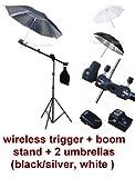 Photo Studio Portable Hot Shoe Flash Mount Umbrella Boom Stand Lighting Kit with Wireless Remote Trigger for Canon, Nikon, Panasonic, Leica, Pentac, Olympus DSLR camera