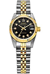 BINGER Women's Datejust Diamond Analog Gold Bezel Automatic Watch Two Tone Stainless Steel Bracelet Black