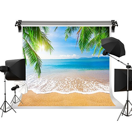 Kate Beach Backdrop Sea Blue Sky Background Palm Trees Summer Background for Photography Photo Studio No Wrinkle Cloth Backdrop 10x10ft(3x3m) by Kate
