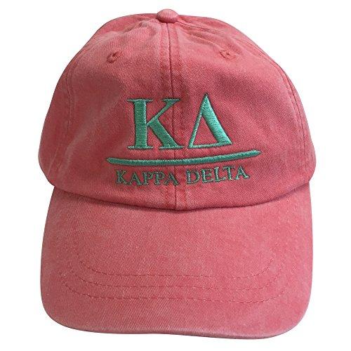 Kappa Delta (B) Coral Designer Sorority Baseball Hat Greek Letter Sports Cap with Sea Foam Thread One Size Adjustable Strap KD - Delta Guard