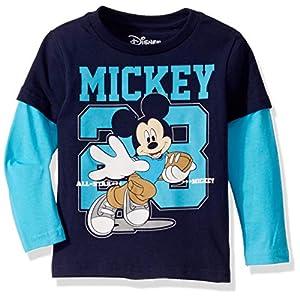 Disney Boys' Toddler Mickey Mouse Football Long Sleeve Doubler T-Shirt