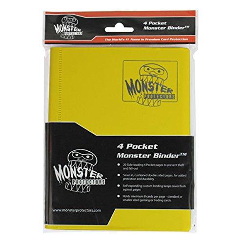 Monster Binder - 4 Pocket Trading Card Album - Matte Yellow (Anti-theft Pockets Hold 160+ Yugioh, Pokemon, Magic the Gathering Cards)