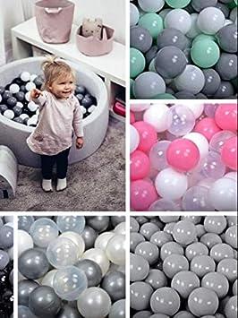 Amazinggirl B/älle f/ür B/ällebad Plastikb/älle Spielb/älle f/ür Kinder Baby im Set 50 grau wei/ß Hellrosa Plastikkugeln Kinderball /Ø 7 cm /CE /