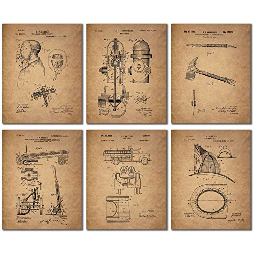 Firefighter Patent Wall Art Prints (8 x 10)