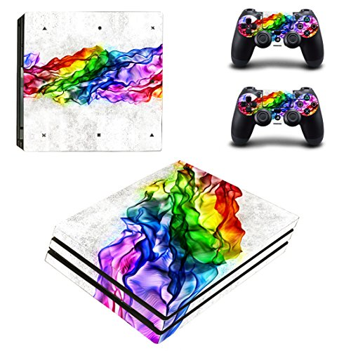Price comparison product image eSeeking Full Body Protective Vinyl Skin Decal For PS4 Pro Console and 2PCS PS4 Pro Controller skins Stickers Elegant Rainbow
