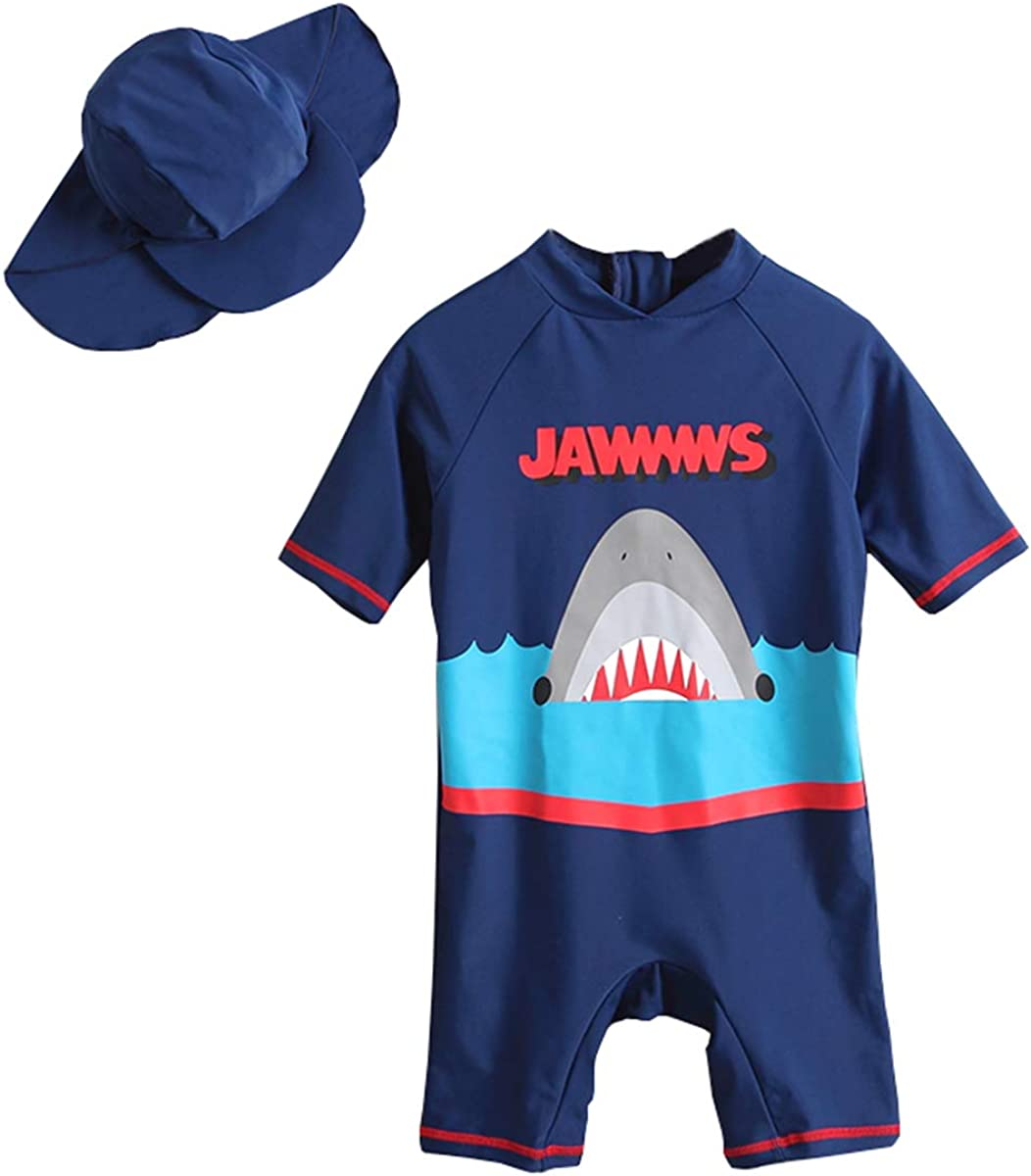 Baby Toddler Boys One Piece Surfing Suit Zip Up Swimsuit UV Sun Protective Bathing Suit Sunsuit with Hat