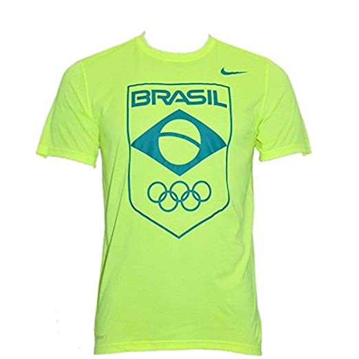 203854b0 Amazon.com: Nike Mens Brasil Olympic Games Dri-Fit COB Logo T-Shirt  845722-702 Volt/Green: Clothing