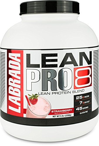 Labrada Nutrition Lean Pro 8, Super Premium Protein Powder with Whey Isolate & Casein for All-Day Lean Muscle Support, Strawberry, 5 Pound (6 Release Powder Protein Sustained)