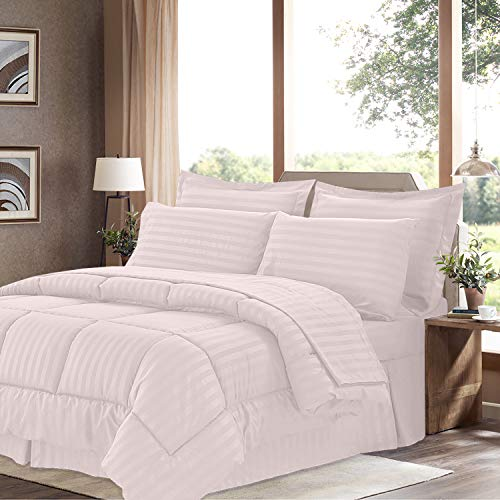 (Sweet Home Collection 8 Piece Comforter Set Bag with Dobby Stripe Design, Bed Sheets, 2 Pillowcases, 2 Shams Down Alternative All Season Warmth, Queen, Pale Pink)