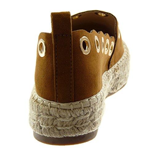 Bloc Doré Plateforme Talon Slip Corde Mode Espadrille Angkorly Cm Camel Femme Chaussure 3 Perforée on CqwZXP8