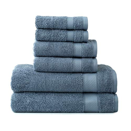 Wamsutta 6-Piece Hygro Duet Bath Towel Set Includes Washcloths,Hand Towels Bath Towels (Slate)