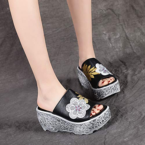High Fashion Heels KPHY 8Cm Heels A Nine Slipper Black Muffin Outwear Bottomed Thick Sandals Thirty Slippers Summer Leather Shoes Slope qzn48Xwzf