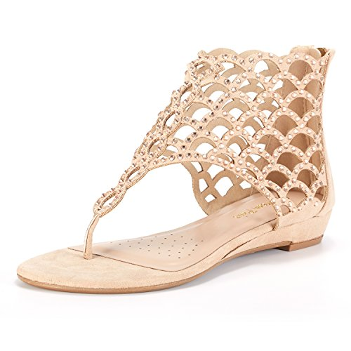 DREAM PAIRS Women's Jewel_08 Nude Rhinestones Design Ankle High Flat Sandals Size 8.5 M US