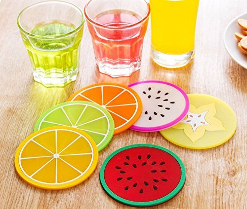 Vflyyy Fruit Slice Silicone Coaster ,Unique&Eye Catching,Especially Design for Your Bar,Kitchen and Patio,Set of 7...