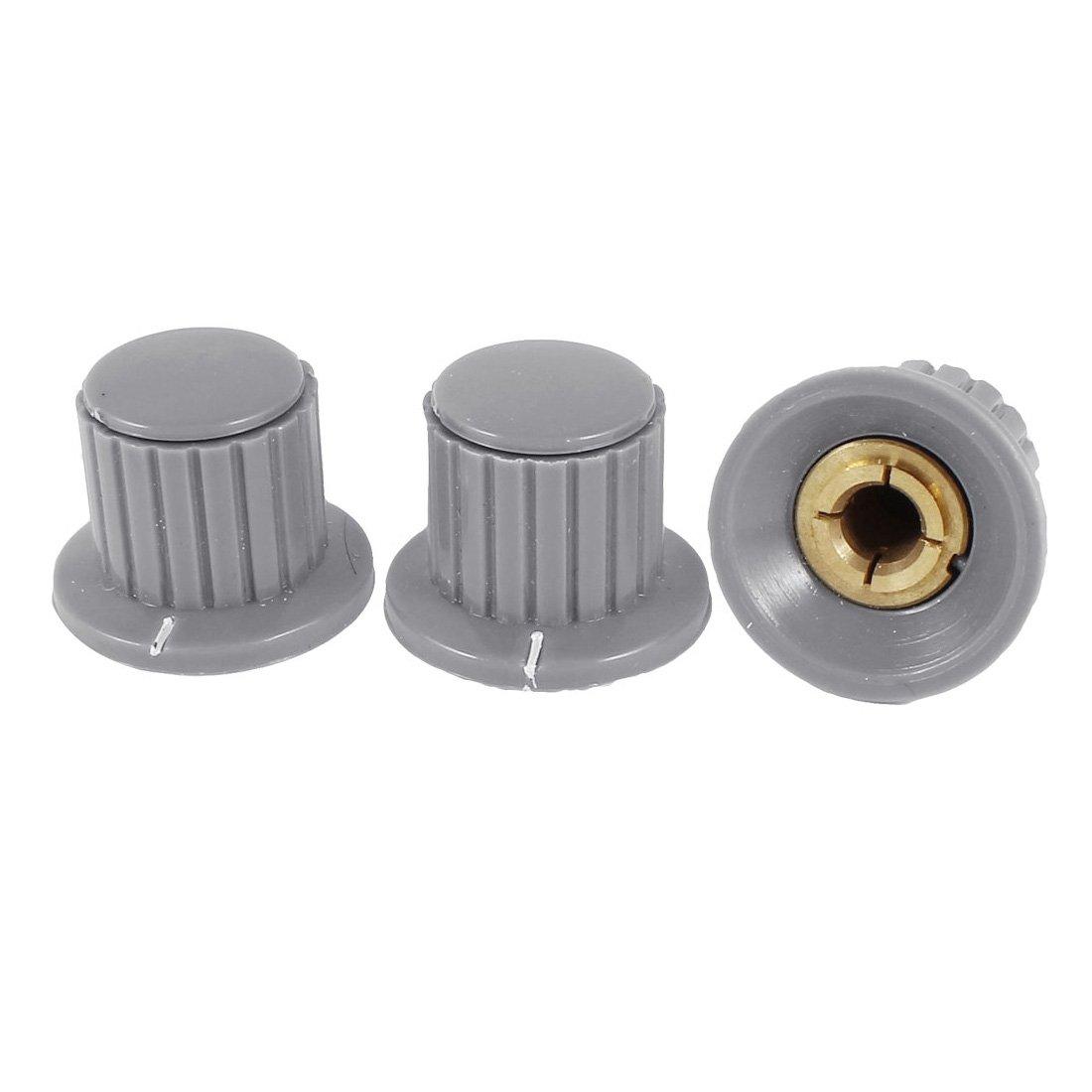 3 Pcs 6mm Hole Diameter Potentiometer Knob Cover Cap 25mmx18mm Gray