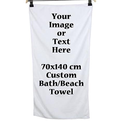 Foto o texto imagen DIY impresión personalizado baño / playa enorme grande toalla larga adulto 27