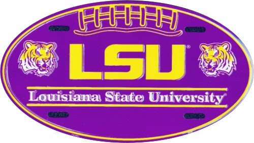 LSU Tigers Oval License Plate Tin Sign 6 x 12in