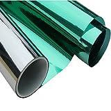 HOHO 60''x20'' Green Silver Window Film One Way Mirror Reflective Solar Tint Block Sun Film60 x40