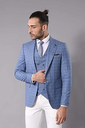 1a7642ea6d93b Kruvaze Mavi Çizgili Takım Elbise | Wessi 56: Amazon.com.tr ...