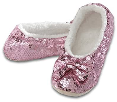 snoozies! Ballerina Bling Metallic Shine Womens Cozy Slippers (Small, Pink)