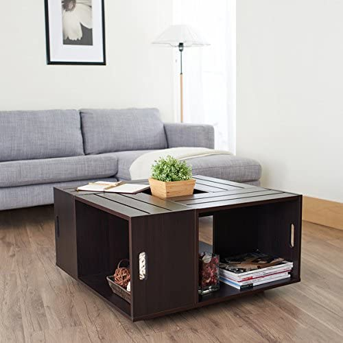 Rustic Square Crate Style Wood Like Coffee Table with Open Shelf and Storage in Espresso. These Coffee Tables Offer Convenience and Multi-Functional Concepts to Your Living Room Furniture Too.