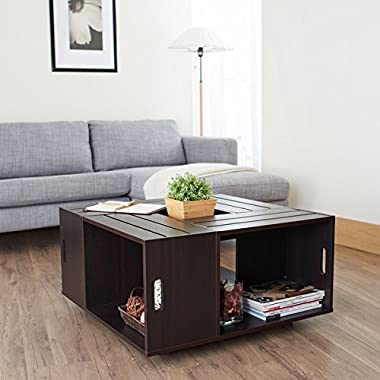 Rustic Square Crate Style Wood Like Coffee Table with Open Shelf and Storage in Espresso. These Coffee Tables Offer Convenience and Multi-functional Concepts to Your Living Room Furniture and Cheap Too.