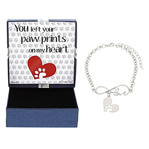 cheap Pet Remembrance Gift Dog Cat You Left Paw Prints on My Heart Silver-Tone Love Bracelet Jewelry Box supplies