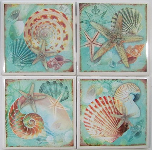 Ceramic Tile Coasters - Seashells - Set of 4 - Custom Made To Order - Check out more designs by typing in - Made Perfect Coaster Company - We Carry Personalized Stone & Monogram Coasters ()