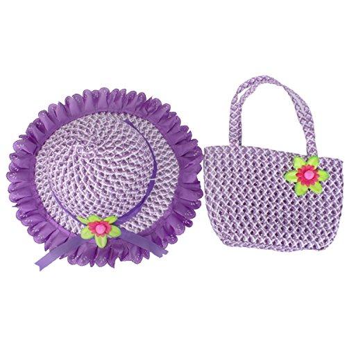 YOPINDO Baby Straw Sun Hat Summer Beach Cap with Handbag Foldable Dress up Hat Purse Set (Purple) ()