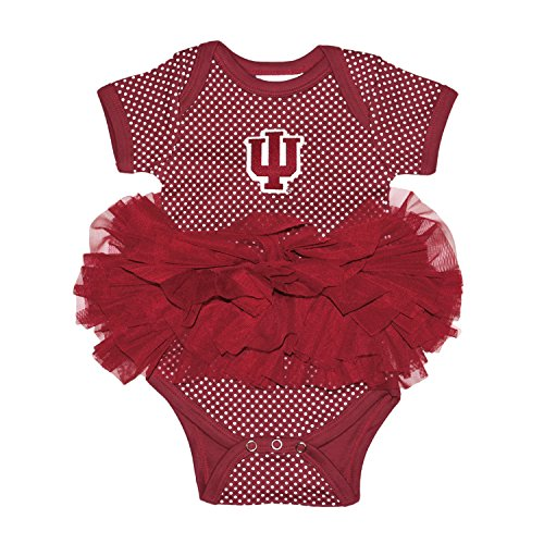 Two Feet Ahead NCAA Indiana Hoosiers Children Girls Pin Dot Tutu Creeper,18 Mo,Crimson - Indiana Hoosiers Pins