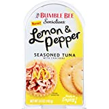 BUMBLE BEE Sensations Lemon and Pepper Seasoned Tuna with Crackers, Tuna Snack Kit, High Protein Food, Gluten Free Food, High Protein Snacks, Canned Food, Bulk Snacks, 3.6 Ounce Packages (Pack of 12)